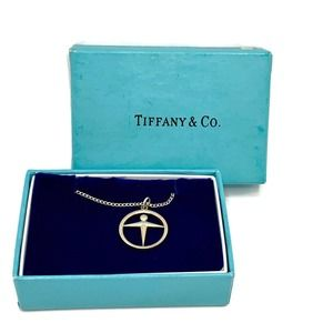 """Vintage Tiffany & Co. Manpower Silver Necklace 16"""""""